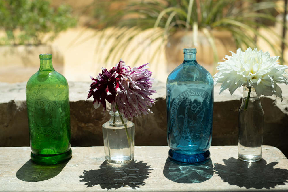 Window bottles and flowers